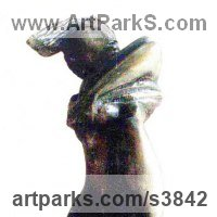 Teenagers Sculpture statuettes Portraits figurines commissions etc by sculptor artist Zakir Ahmedov titled: 'The Token Off (Bronze Girl undressing statuette)' in Bronze