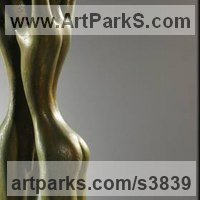 Nude Garden Yard Outdoor Outside Sculpture Statues by sculptor artist Zakir Ahmedov titled: '.NIGHT2003 year bronza 67x14x12 cm' in Bronze