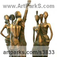 Indoor figurative sculpture by sculptor artist Zakir Ahmedov titled: 'Seven Beauties (nude Semi Naked Girls Standing statue)' in Bronze