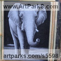 Etched Stone Slate Glass Panel Slab Tile Sheet sculpture by sculptor artist Zbigniew Pietrzak titled: 'Hand Etched Elephant (Realistic stone Panel Slab Engraving sculpture)' in Black granite