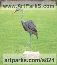 Old Copper Water Birds / Water Fowl / Seabirds / Waders sculpture by Abbey Evans titled: 'Heron 3 (life size Copper garden Pond side Grey Heron sculpture/statue)'