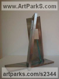 Stain less Steel and Gold Abstract Modern Contemporary Avant Garde Sculptures Statues statuettes figurines statuary both Indoor Or outside sculpture by Abu Jafar titled: 'HOPE (stainless Steel Rectangular contemporary sculpture)'