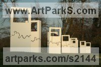 Wood, blown glass and fused Glass Abstract Modern Contemporary Avant Garde Sculptures Statues statuettes figurines statuary both Indoor Or outside sculpture by Abu Jafar titled: 'Nature Wonder II Contemporary Rectangular White statie'