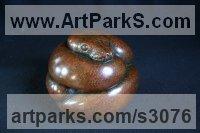 Bronze Miniature Sculptures, statuettes or figurines sculpture by Adam Binder titled: 'Ball Python (Little Coiled Snake statuettes statues)'