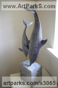 Marine Maritime Water Sea sculpture statue statuette by sculptor artist Adam Binder titled: 'Dolphins (Pair Small Bronze Fish and Baby sculptures)' in Bronze