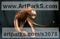 Cats Sculpture by sculptor artist Adam Binder titled: 'Leopard (Feeding Stylised Big Cat Contemporary statue)' in Bronze