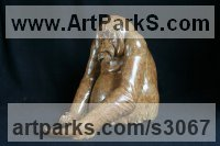 Bronze Primate / Apes sculpture by Adam Binder titled: 'Orangutan (Small Bronze Sitting sculptures/statues)'