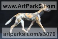 Bronze Dogs Wild, Foxes, Wolves, Sculptures / Statues sculpture by Adam Binder titled: 'Painted Dog (Small bronze Wild Dog sculptures statuettes)'