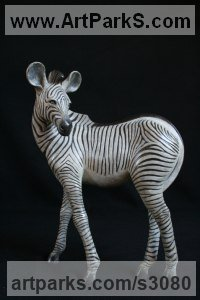Bronze Donkeys Zebras Mules Asses and Unicorns sculpture / statue sculpture by Adam Binder titled: 'Zebra Foal (Little bronze Equine African Wild Life sculptures/statuette)'