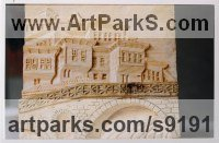 Pine wood Bas Reliefs or Low Reliefs sculpture by Adrian Arapi titled: 'Gorica Bridge Albania (Carved Wood Low Relief Pannel)'