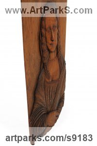 Wood Art Inspired by Great Paintings sculpture by Adrian Arapi titled: 'Mona Lisa (High Relief Portrait Carved Wood pannel)'