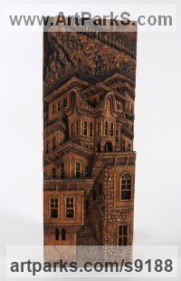 Wood Carved Wood sculpture by Adrian Arapi titled: 'Mother House (Carved Wood Relief Building sculpture)'