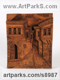 Wood High Relief or Haute Relief Carving Sculpture Wall Panel casting in Bronze / Copper sculpture by Adrian Arapi titled: 'Old street in Berati town (High relief Street Scene panel)'