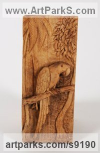 Wood Ornamental Birds sculpture or Statues sculpture by Adrian Arapi titled: 'Parrot (Carved Relief Wood Panel sculptures carvings)'