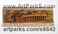 Wood Architectural sculpture by Adrian Arapi titled: 'Acropolis (Low Relief AncientLand Mark Wall sculpture)'