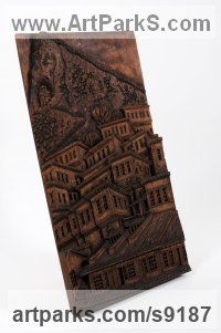 Hand made chisled Architectural sculpture by Adrian Arapi titled: 'View of Mangalem Berat Albania (Relief Village panel)'