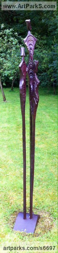 Iron Abstract Modern Contemporary Avant Garde sculpture statuettes figurines statuary both Indoor Or outside sculpture by sculptor Adrian Payne titled: 'Humans (Tall Metal/Iron abstract Aliens garden/yard statue/sculpture)'