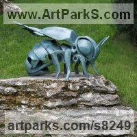 Glazed fireclay Animals in General Sculptures Statues sculpture by �gnes Nagy titled: 'Bee (glazed fireclay Stylised Contemporary abstract Bee statue)'