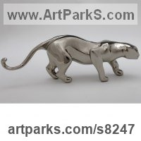 Bronze Cats Wild and Big Cats sculpture by �gnes Nagy titled: 'Crawling Jaguar (Small Bronze stylised abstract statue)'