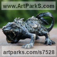 Bronze Reptiles Sculptures and Amphibian sculpture by Ágnes Nagy titled: 'Iguana (Stylised Contemporary bronze Lizard garden statue sculpture)'