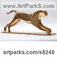 Bronze Animal Abstract Contemporary Modern Stylised Minimalist sculpture by �gnes Nagy titled: 'Jumping Jaguar (Bronze stylised abstract statue sculpture)'