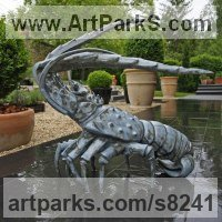 Glazed fireclay Animal Kingdom sculpture by �gnes Nagy titled: 'Lobster (glazed fireclay Stylised Contemporary statue)'