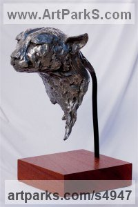 Bronze or nickel bronze Cats Wild and Big Cats sculpture by Ajay Bull titled: 'Timon (Male Cheetah Bronze Portrait Bust life size statues)'