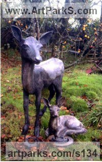 Resin Bronze Animals in General sculpture sculpture by sculptor Alan Biggs titled: 'Fawn (Young Deer Standing Alert Watching garden Outdoors statue)'