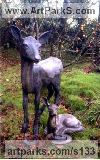 Deer Sculpture by sculptor artist Alan Biggs titled: 'Roe Deer (life size Standing Alert garden sculptures)' in Resin bronze