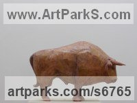 Cast resin Extinct Animals sculpture by Alan Dun titled: 'Cave Bull (3D sculptural Cave Drawing statue/sculpture/statuette)'