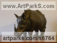 Bronze resin Endangered Animal Species sculpture by Alan Dun titled: 'Durer`s Rhino (Little/Small Rhinoceros statuette/sculpture/statue)'