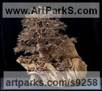 10,000 empty twig ends and Wire Tree Plant Shrub Bonsai sculpture statue statuette sculpture by Alarik Greenland titled: 'Dartington Tree (Little in Winter Art statuettes)'