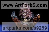 10,000 Garnet Stones, twisted Wire, wood Tree Plant Shrub Bonsai sculpture statue statuette sculpture by Alarik Greenland titled: 'Jill`s Tree (in Autumn Leaf Little Small statuette)'