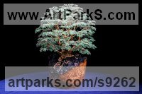 Cubic Zirconia Stones Wire and Wood Tree Plant Shrub Bonsai sculpture statue statuette by Alarik Greenland titled: 'The Great Chestnut (Bonsai sculpture of Ancient Tree)'