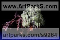 45,000 small Peridot Stones, twisted wire, wood Tree Plant Shrub Bonsai sculpture statue statuette sculpture by Alarik Greenland titled: 'The Weeping Willow (Miniature Wire Tree sculpture)'