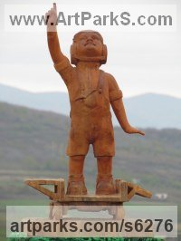 Wood Carved Wood sculpture by sculptor Aleksandar Tosic titled: 'Childhood (Carved Wood Small Child Playing statue)'