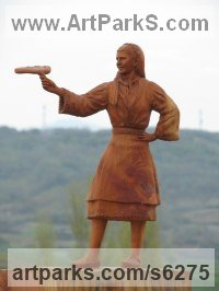 Wood Carved Wood sculpture by Aleksandar Tosic titled: 'Milena (Small Carved Wood Country Girl statuette)'