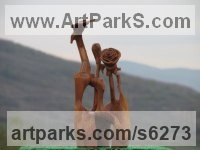 Wood Carved Wood sculpture by sculptor Aleksandar Tosic titled: 'Rose Cutter (Little abstract Modern Carved Root Wood statuettes/carving)'