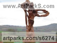 Wood Carved Wood sculpture by sculptor Aleksandar Tosic titled: 'Ventilator (Carved Wood abstract carving statue)'