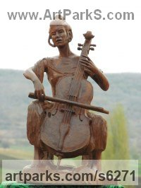 Wood Carved Wood sculpture by Aleksandar Tosic titled: 'Violoncello (Small Carved Wooden Musician statue)'