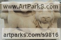 Carved Portland Lime Stone Architectural sculpture by Alex Waddell titled: 'Laughing Lion Grotesque (Little Carved Stone statues)'