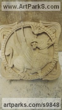 Lime Stone Architectural sculpture by Alex Waddell titled: 'Romanesque Griffin (carved Stone High Relief statues)'