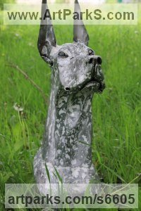 Dog sculpture by Alexander Kudryavcev titled: 'Harlequin Great Dane (Dogs Head/Bust Contemporary statue sculpture)'