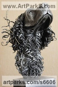 Dog sculpture by Alexander Kudryavcev titled: 'Spaniel (Curly Haired Steel Dogs Head Bust sculpture statue statuette)'