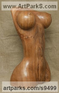 Carved wood karagach (elm tree species) Females Women Girls Ladies Sculptures Statues statuettes figurines sculpture by Alexey Bykov titled: 'Artificial Venus (Carved Wooden Breasts sculptures)'