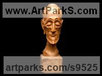 Carved wood karagach (elm tree species) Carved or Carving sculpture by Alexey Bykov titled: 'Ascetic (Carved Wood Caricature Male Bust sculptures)'