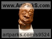 Carved wood karagach (elm tree species) Celebrity and Star sculpture by Alexey Bykov titled: 'Bukka (Carved Wood Man`s Head Bust statue statuettes)'
