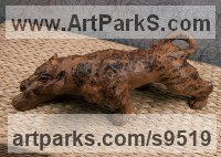 Carved wood karagach (elm tree species) Small Animal sculpture by Alexey Bykov titled: 'Crawling Jaguar (Little Prowling Hunting Wood statue)'