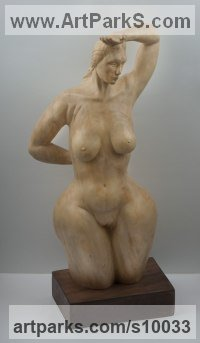 Statue - maple wood, basement - elm wood Carved Wood sculpture by Alexey Bykov titled: 'Goddess (Carved nude nude Gaia Earth Venus sculpture)'