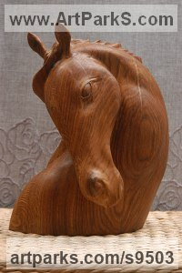 Carved oak wood Carved Wood sculpture by Alexey Bykov titled: 'Horse Head (Carved Wood Horse Bust Portrait statuette)'